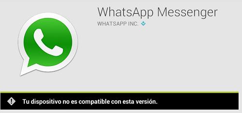 whatsapp no compatible