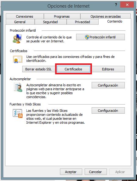 certificado hacienda opciones internet contenido certificados