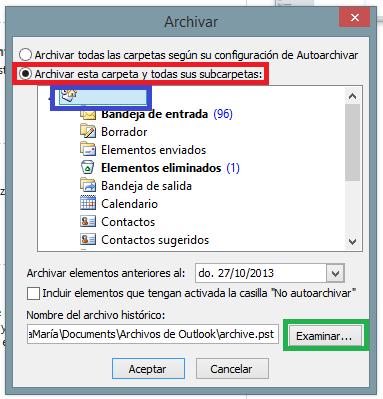 outlook archivar configuracion
