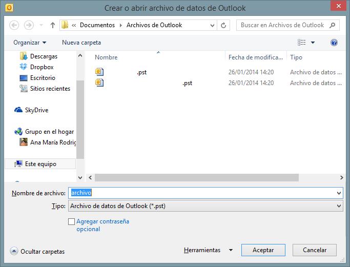 outlook crear archivo de datos nuevo