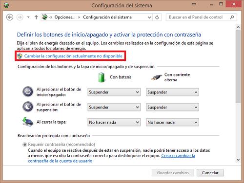 hibernar windows 8: cambiar la configuración actualmente no disponible