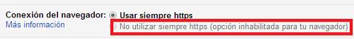 Gmail http: opción inhabilitada para tu navegador