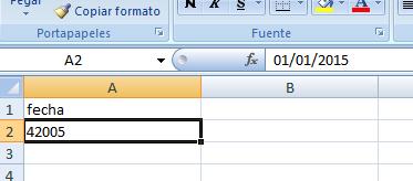 excel 2007 como mostrar fechas en vez de numeros