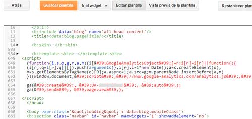 analytics insertar codigo blogger detalle error