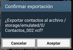 android contactos confirmar exportacion