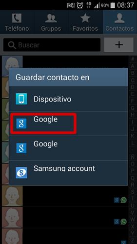 android contactos importar ubicacion