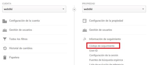 google analytics js informacion de seguimiento codigo de seguimiento