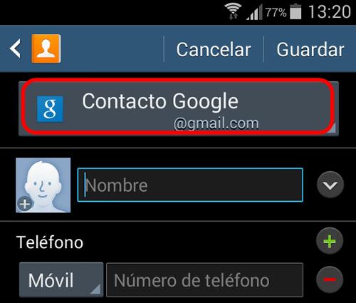 android guardar contactos cuenta google contacto nuevo