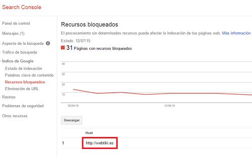 webmaster tools recursos bloqueados