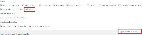 wordpress mostrar autor en edicion de entradas