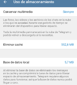 telegram ajustes uso almacenamiento